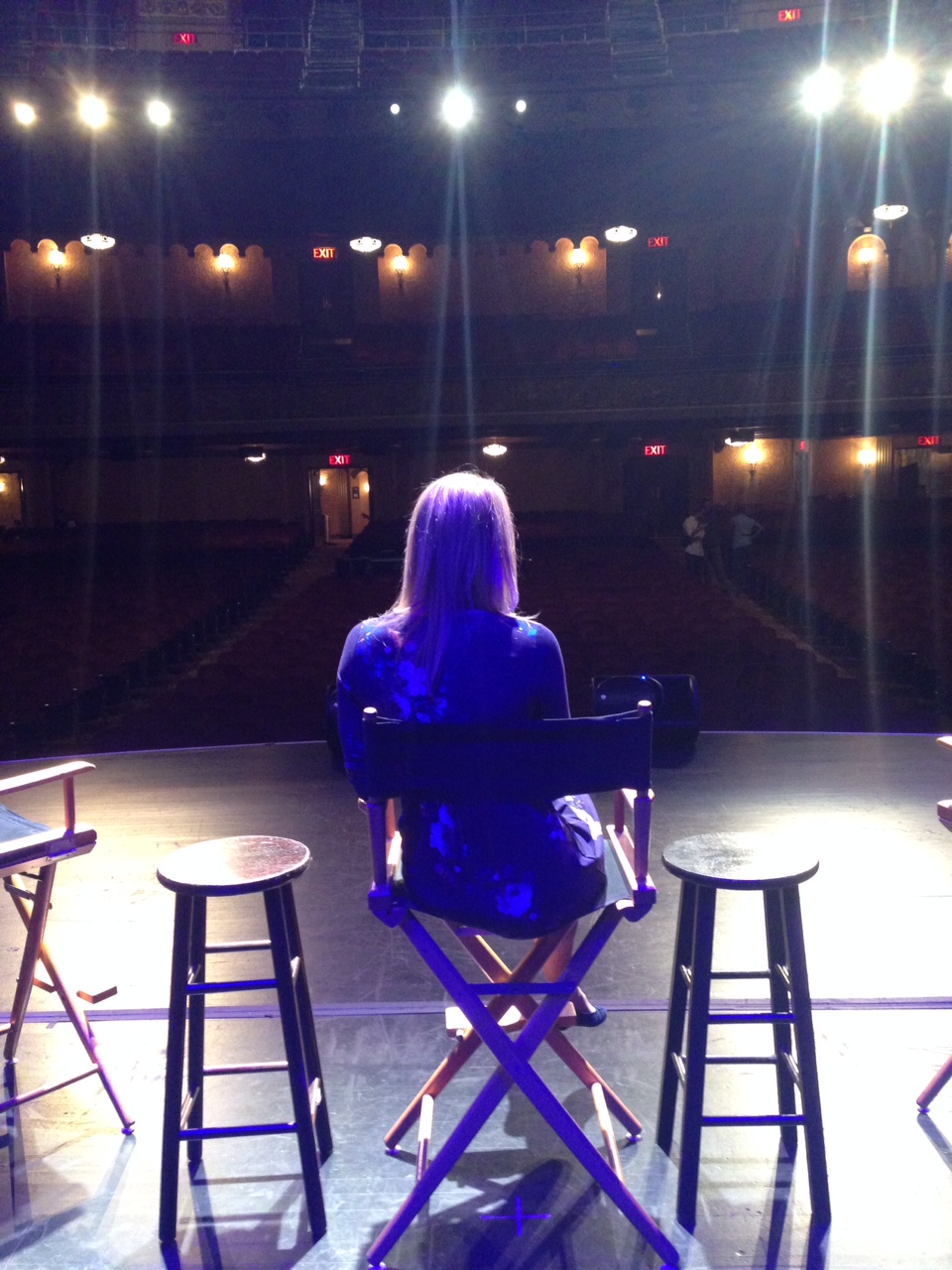 Me on stage for the sound check before the audience arrived!