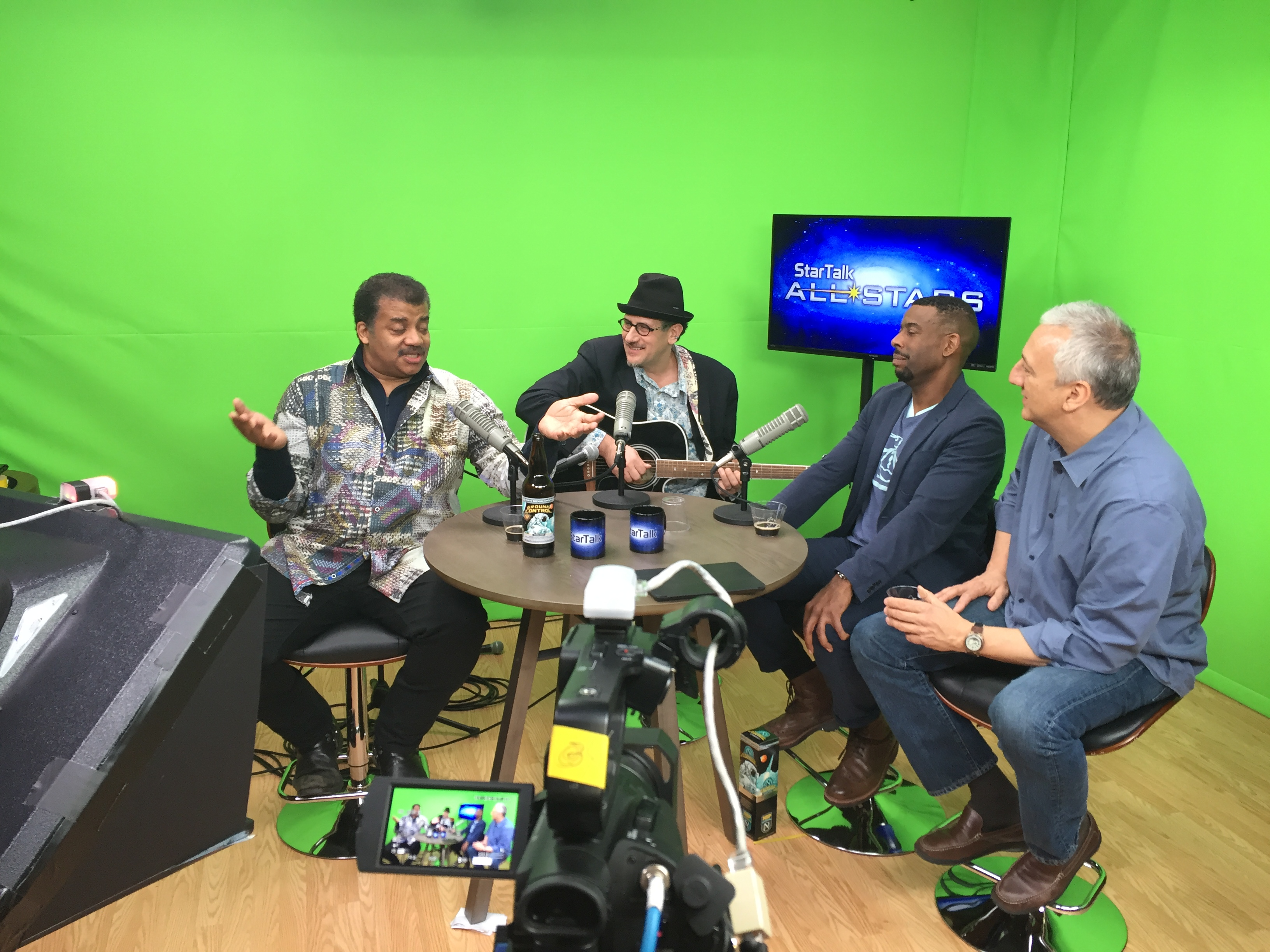 Late night StarTalk All-Stars podcasting with (L-R) Neil deGrasse Tyson, Dr Grinspoon, Chuck Nice and Mike Massimino (astronaut!!)